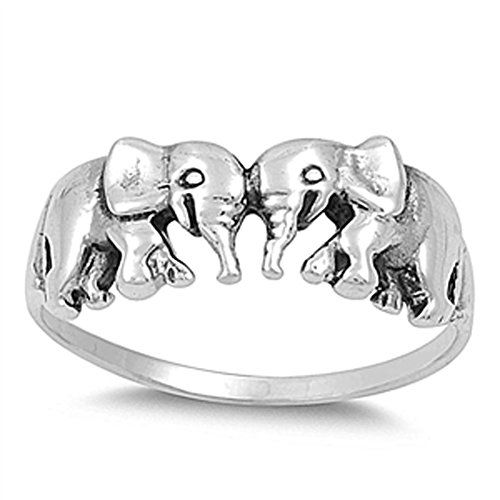 Women's Elephant Pair Classic Ring New .925 Sterling Silver Band Sizes 3-13 Cyber Monday Deal 2015: