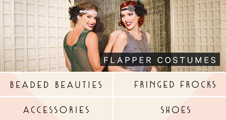Flapper Costumes - 1920s, Gatsby Inspired and Sexy Flapper Halloween Costumes - Unique Vintage
