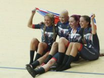 Katie Archibald, Laura Trott, Elinor Barker, Joanna Rowsell-Shand win team pursuit gold