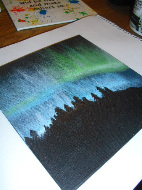 Northern lightning acrylic painting on 6x6 canvas. by JenTaArt