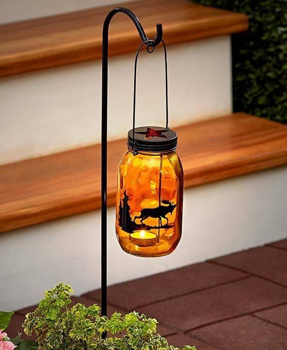 Amber Glass Moose Silhouette Woodland Candle Lantern W/Yard Stake Yard  Garden