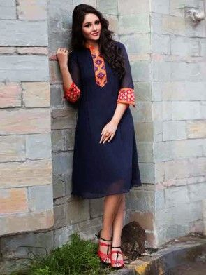 Navy Blue Georgette Tunic With Resham Embroidery Work
