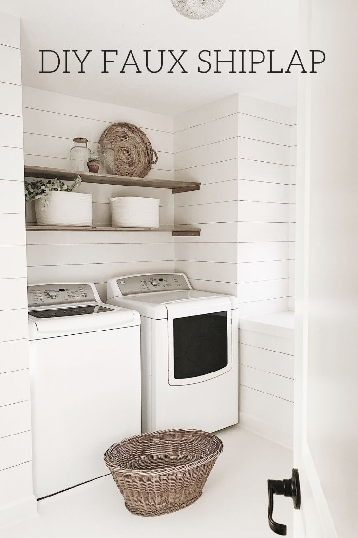diy faux shiplap -  Grey laundry rooms, Laundry room inspiration
