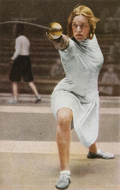 German fencer Helene MAYER at the Olympic Games, Los Angeles, 1932, from an album of Altora cigarette cardsPhoto Credit:Kharbine-Tapabor / The Art Archive at Art Resource, NY