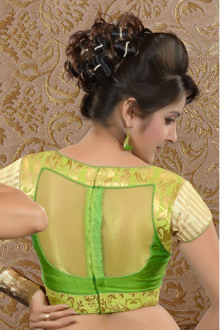 Parrot #Green Raw #Silk & Brocade weaved #blouse -BL445