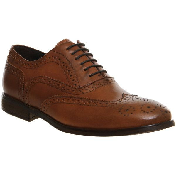 Ask the Missus Brooklyn Brogues (830 SEK) ❤ liked on Polyvore featuring men's fashion, men's shoes, men's oxfords, men, shoes, smart, tan leather, mens leather shoes, mens tan brogues and mens tan shoes