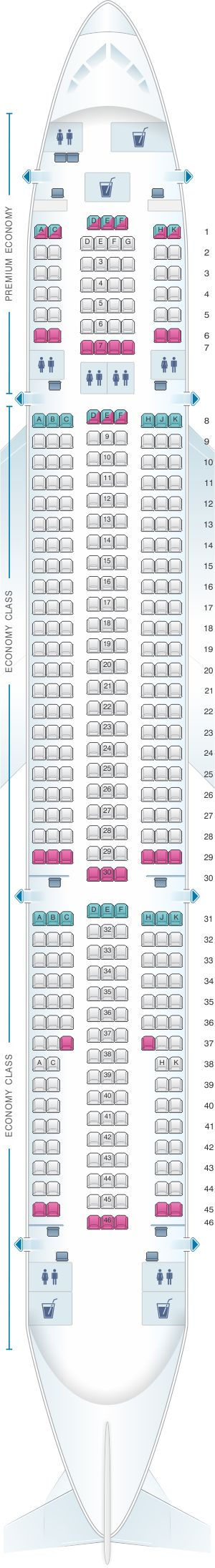 Seat Map Monarch Airlines Airbus A330 200