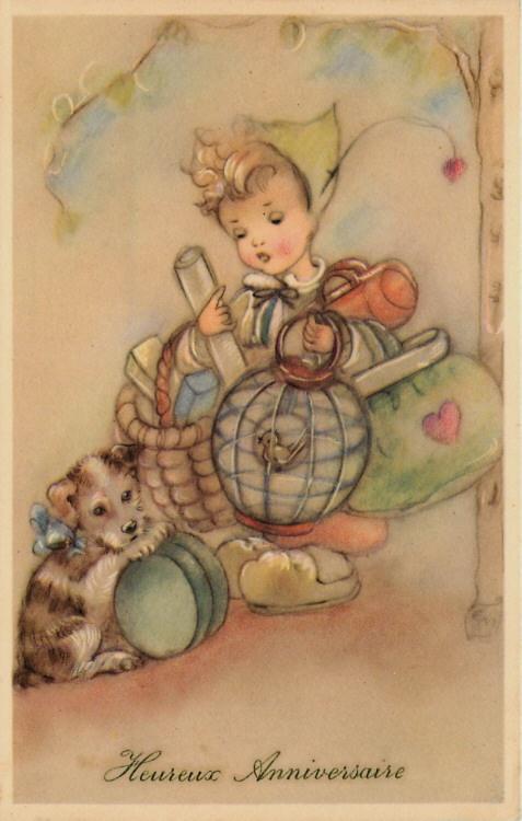Presents From The Dog Part - 50: Artist Signed Erna Maison Birthday Girl Dog Presents Vintage Postcard | EBay