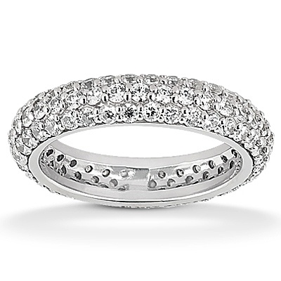 I love the intense sparkle from Pave set Diamonds!    Here is a 3-row diamond pave set wedding band. This can be made in different widths depending on the look that you want.  www.samuelkleinberg.com
