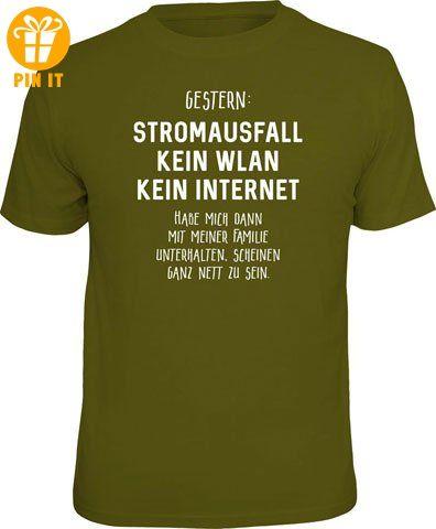 Stromausfall - Kein WLAN - T-Shirt - Größe XL - T-Shirts mit Spruch | Lustige und coole T-Shirts | Funny T-Shirts (*Partner-Link)