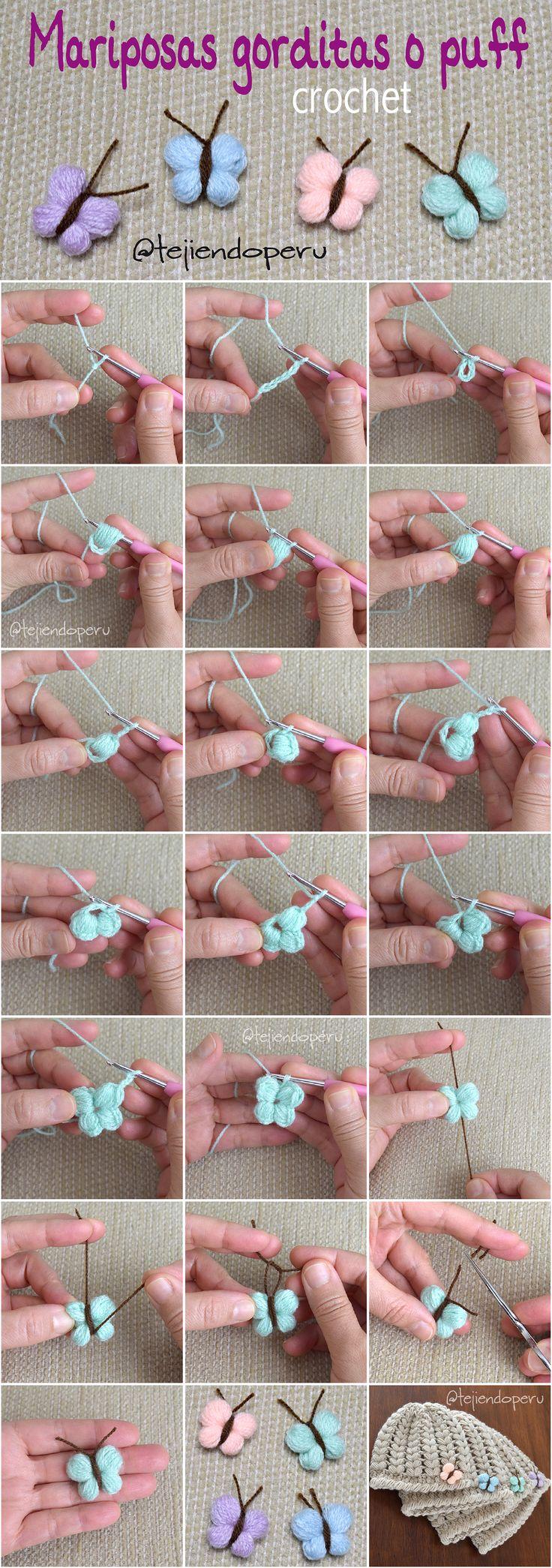 Mariposas gorditas tejidas a crochet en punto puff o garbanzo... lindas y muy fáciles de tejer :)