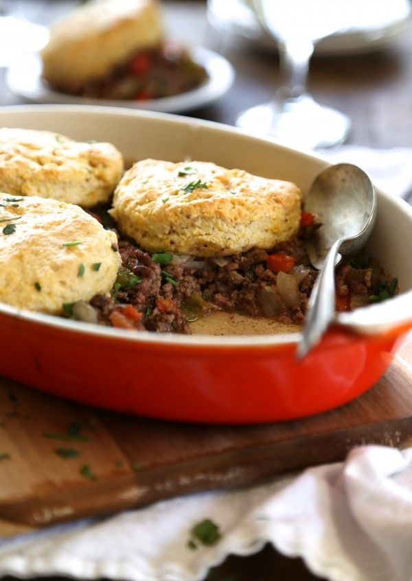cuban casserole with whole grain mustard butter biscuits