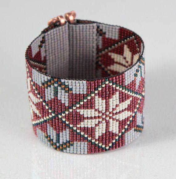 Rubies and Cream Bead Loom Bracelet Artisanal by PuebloAndCo