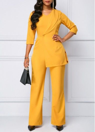 7a2de1a7841 Zipper Back Three Quarter Sleeve Mustard Yellow Jumpsuit