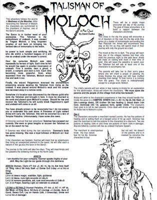 Mini Quest The Talisman Of Moloch Is A Free Short Adventure Rpg