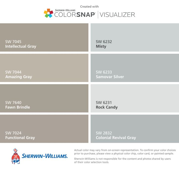 I Found These Colors With ColorSnapR Visualizer For IPhone By Sherwin Williams Intellectual Gray SW 7045 Amazing 7044 Fawn Brindle 7640