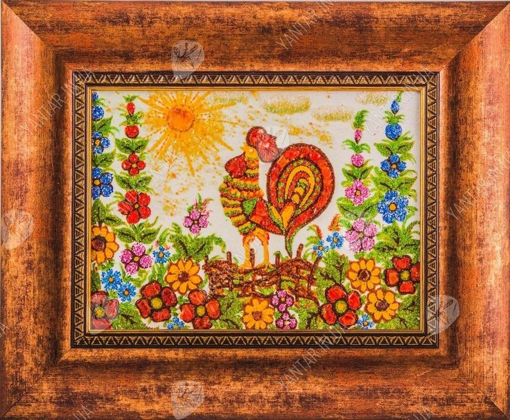 Купить оригинальные картины на кухню с петушком из янтаря на сайте Yantar.in.ua