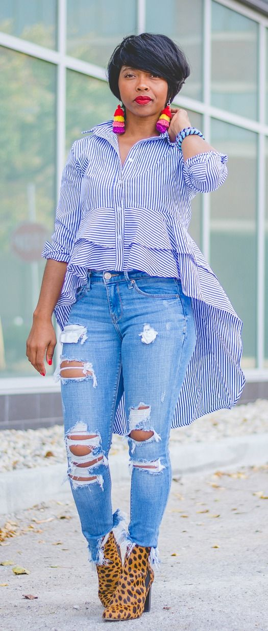 Sweenee Style, Indianapolis fashion blog, Fall 2017, fall outfit ideas, OUTFIT, OUTFIT IDEAS, OUTFIT POST, spring outfit idea, shein, wrap top, distressed denim, tassel earrings, Leopard, Leopard Boots, Hi-Lo top, Short haircut