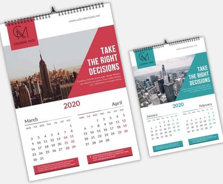 Brick Creative Wall Calendar Design 2020 Psd File Creative Calendar Calendar Design Wall Calendar Design