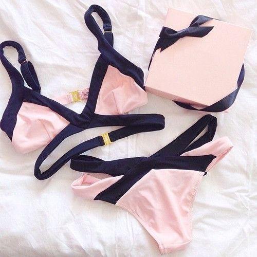 Oshlen Cross Pink Bikini Set