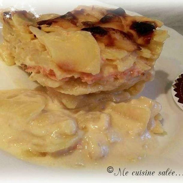Gratin de pommes de terre au Chaource & saumon fumé