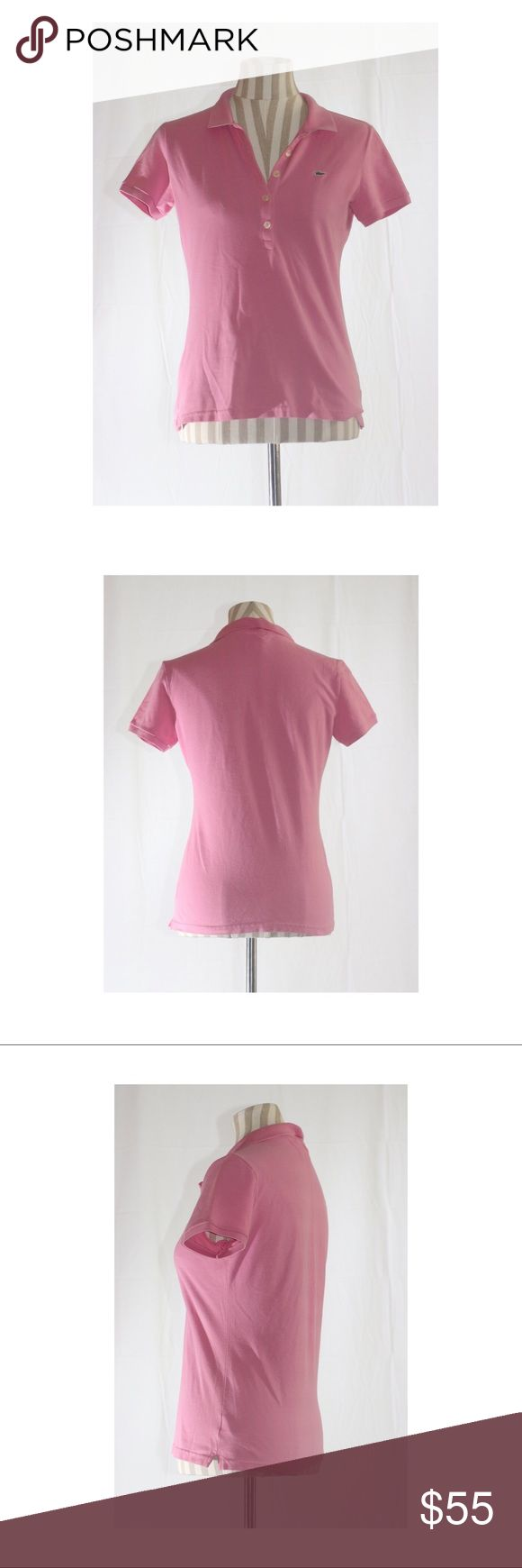 NWOT LACOSTE Pink LOGO Polo Shirt This cute light pink polo is perfect for the polished closet!   PERFECT CONDITION  TAG reads size 42, refer to last picture for OFFICIAL LACOSTE SIZIG CHART. Lacoste Tops
