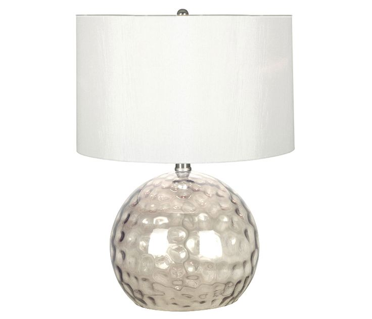Smoked Glass Table Lamp - An eye catching orb of smoked glass gives an antique feel, while the crisp white drum shade provides versatility in a variety of rooms.