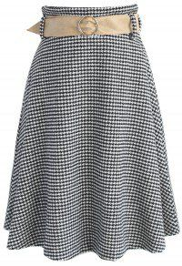 Nifty Houndstooth Wool-blend A-line Skirt