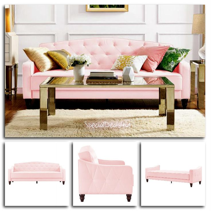 Convertible Sofa Bed Sleeper Furniture Couch Velour Living Room Modern Home Pink…
