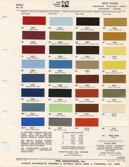 1973 mustang colors showcase pinterest colour chart for Ford motor paint colors