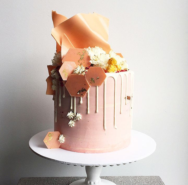 Blush pink, white and peach buttercream cake with white chocolate ganache and chocolate sails by Don't Tell Charles ~ we ❤ this! moncheribridals.com