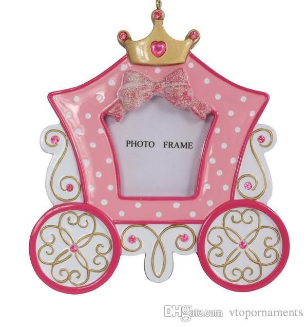 Rosa Resin Diamond Princess Carriage Bilderrahmen Mit Krone Als Personalisierten Weihnachtsornamente