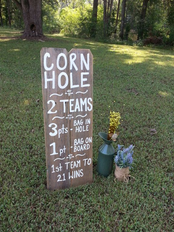 Game Rules Board. Lawn Games Sign. Yard Self Standing Sign. Reclaimed Wood  Wedding Sign. Reception Games Signs. Bocce