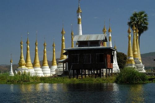 монастырь Нгафечонь в Бирме. Деревянное сооружение построено на сваях над озером Инл.Это очень красивый деревянный монастырь построенный в конце 1850-х.Монастырь славиться своей коллекцией Будд.