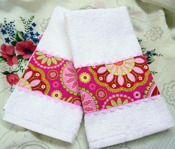 /2 HAND TOWELS with MICHAEL MILLER Cotton fabric PINK AND RED Paisley #HandMade