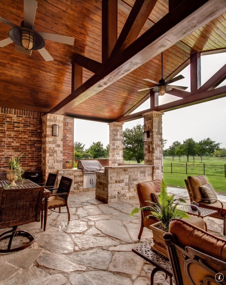 Outdoor living space with heavy timber beams