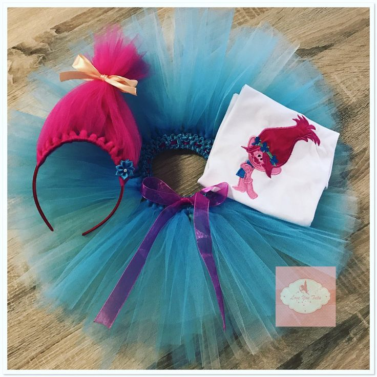 Embroidered Princess Poppy troll tutu set