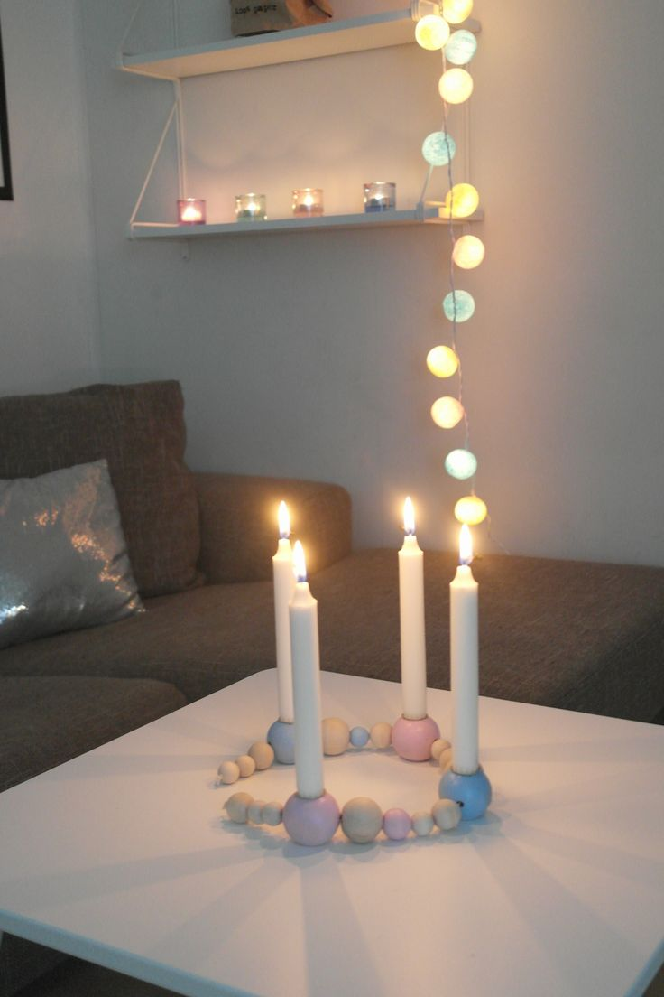 Diy, candle, woodpearls, happylights, livingroom, pastel colours