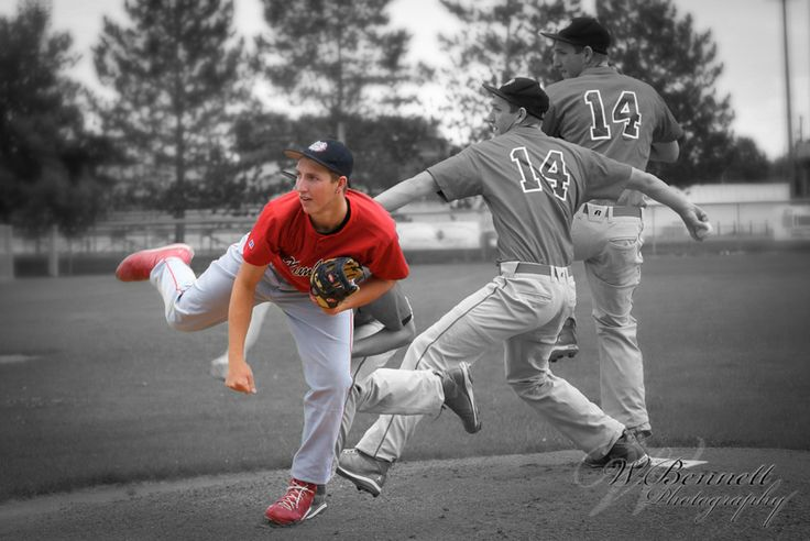 Baseball portrait. Pitcher in action. Minus the selective coloring.