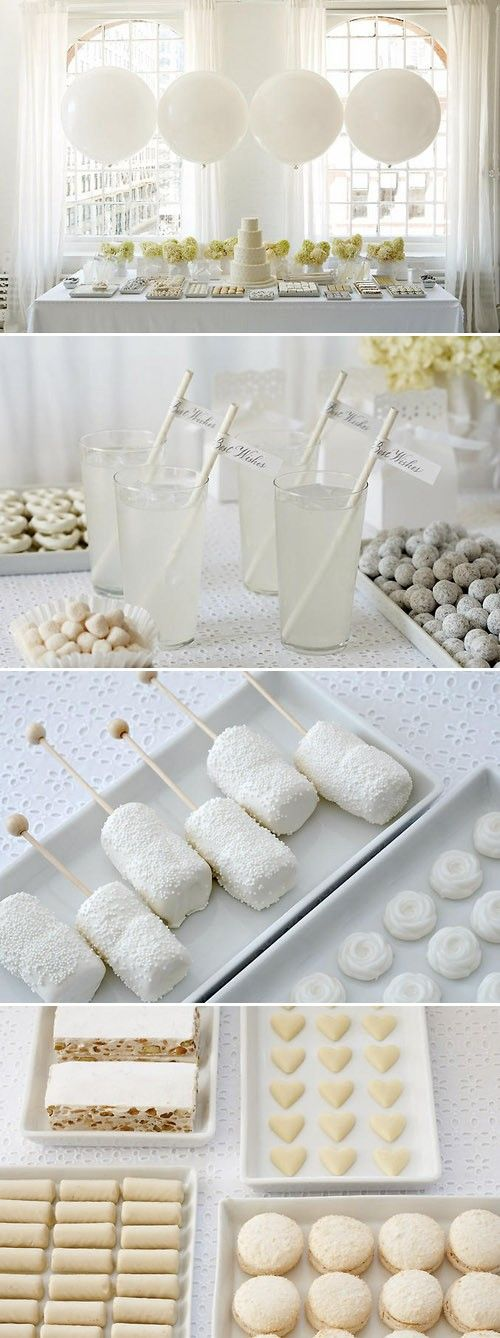 sweet-table-blanche; white party, add snowflakes during the holidays