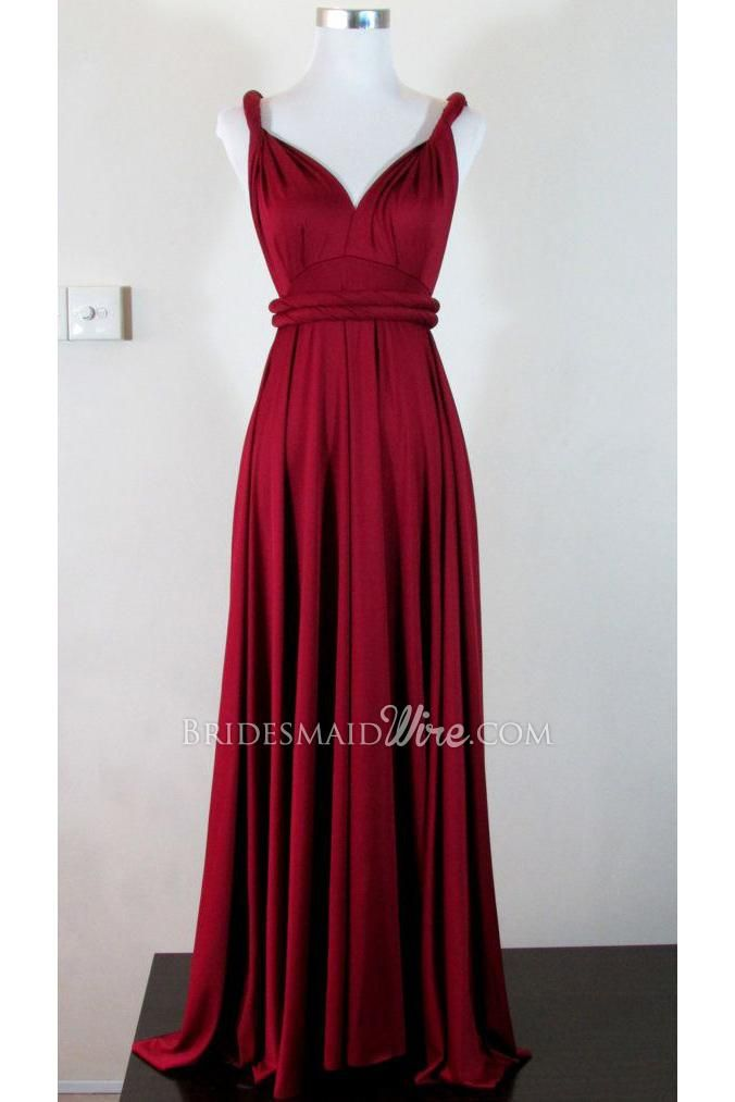 dark red wrap twisted v neck long pleated bridesmaid dress ...