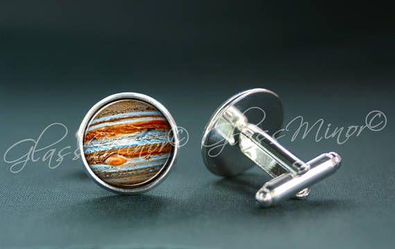 Jupiter Cufflinks, Galaxy Groomsmen Usher Cufflinks, Wedding Cufflinks, Lunar Cufflinks, Universe Cosmos Solar System Outerspace Lovers Gift