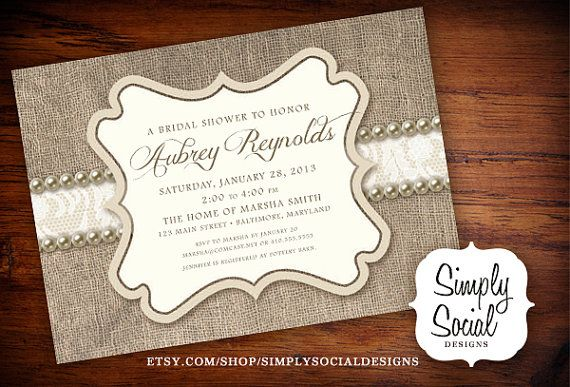 Rustic Chic Burlap, Lace and Pearls Bridal Shower Invitation