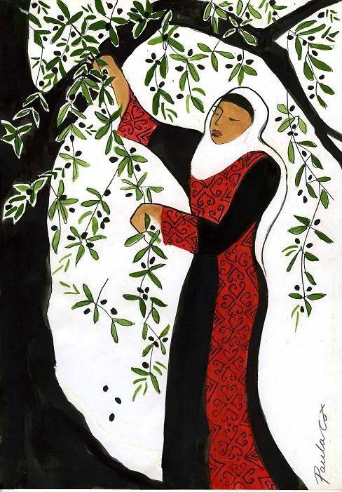 Palestinian lady picking Olives...