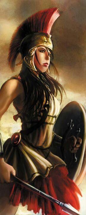 Palas Atena (Minerva para os Romanos) Deusa da inteligência e habilidade, guerra, estratégia de batalha, artesanato, e sabedoria, ela nasceu da cabeça de Zeus totalmente formado e blindados. Foi descrita coroada com um elmo com crista, armada com escudo e uma lança, e vestindo a égide sobre um vestido longo. Ela era um patrona especial de heróis como Ulisses. Ela foi a patrona da cidade de Atenas Seu símbolo é a oliveira. Ela é comumente mostrado acompanhada de seu animal sagrado, a coruja.