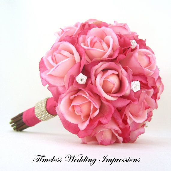 Hot Pink Roses Bridal Bouquet Real Touch Silk by ...