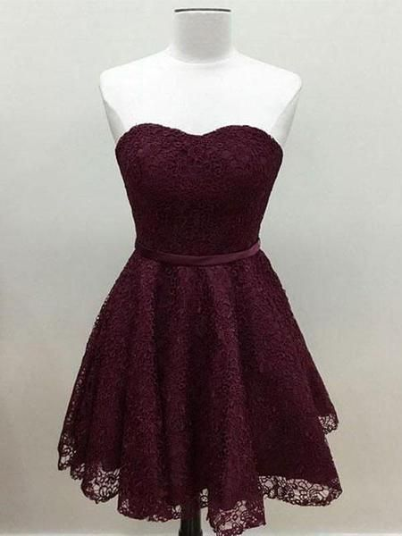 6d488729a9c8 2019 Cute Simple Maroon Short Lace Homecoming Dresses With Sweetheart  Neckline,FPBD006