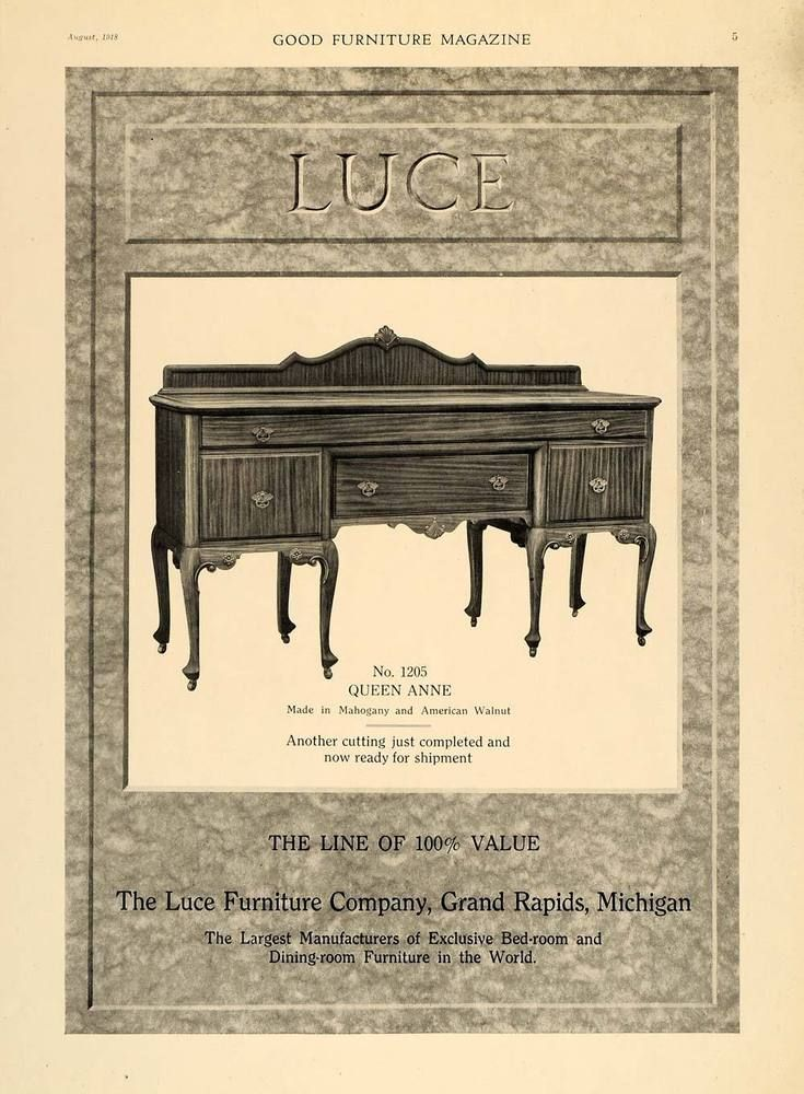 Awesome This Is An Original 1918 Black And White Print Ad For The Luce Furniture  Company Located In Grand Rapids, Michigan, Manufacturers Of Exclusive Bedru2026