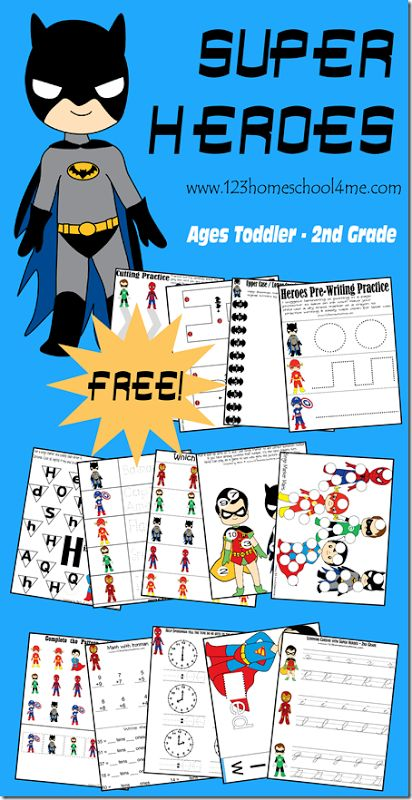 FREE Superhero worksheets for Preschool, Kindergarten, 1st grade, and 2nd grade kids. SO CUTE! Kids will practice writing, letters, numbers, cursive, telling time, addition, and so much more with these fun batman, superman, spiderman, ironman and more worksheets for kids.