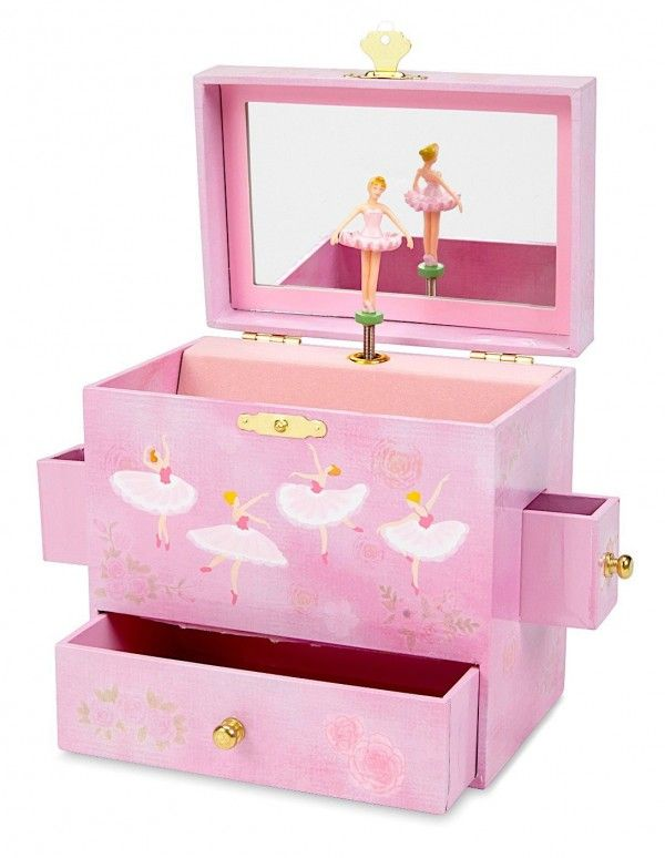 05 Pink Ballerina Themed Countertop Childrens Jewelry Box